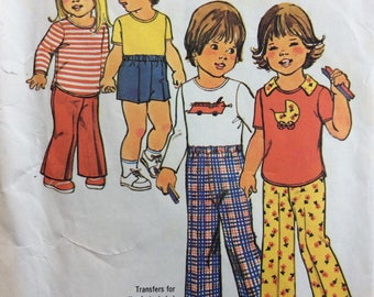 Simplicity 7061 child's pants, shorts and pullover top size 3 or size 4 vintage 1970's sewing pattern  Uncut  Factory folds
