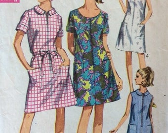 Simplicity 7655 misses dress in half sizes size 20 1/2 bust 43 vintage 1960's sewing pattern