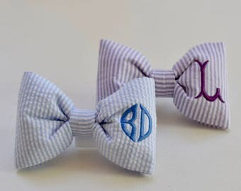 Monogram Dog Bow Tie Purple Seersucker -  Dog Lover Gift by Three Spoiled Dogs