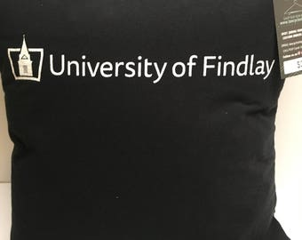 Findlay, Ohio University tshirt Pillow 16x16 Upcycled One of a Kind