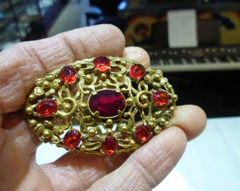 L5 Vintage Gold Tone with Red Rhinestones Brooch.