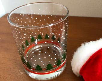 Christmas falling snow glass