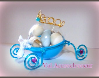 set of 5 containers dragees carriage, ideal for a baptism, marriage royal theme, Cinderella, prince or Princess