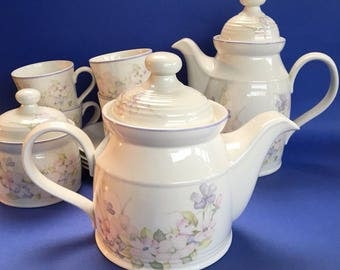 Vintage 1982 Royal Doulton Chelsea Lambethware Coffee Pot, Teapot, Cups and Saucers, Sugar Bowl