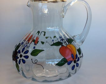 Large & Flawless Hand Painted Crystal Juice or Water Pitcher