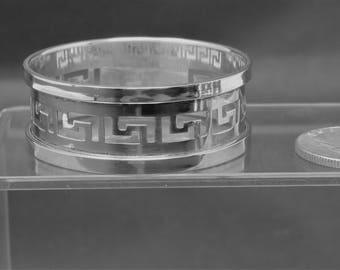 Beautiful, Vintage Sterling Silver, Greek Key Design Napkin Ring, Real Silver 925 Napkin Holder, Vintage Napkin Ring, No Monogram