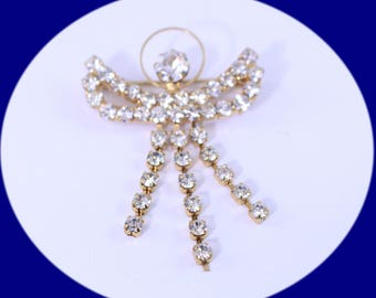 Vintage Rhinestone Brooch Pin Gold Tone and Rhinestone Angle Pin Brooch Vintage Jewelry Vintage Brooch