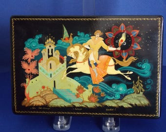 Russian Hand Painted Lacquer Box - Vintage FREE Domestic SHIPPING