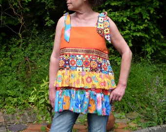 Spring/summer, tunic top in orange and multicolored cotton with straps