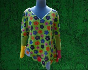 sweater/Sweatshirt/tunic women fleece flower asymmetrical