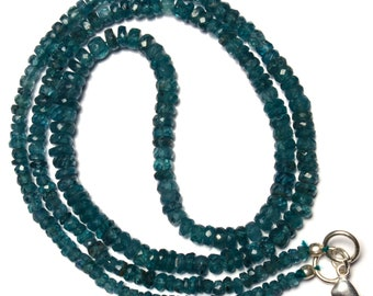 Natural Gemstone Rare Green Color Kyanite 3 to 5MM Faceted Rondelle Beads 19 Inch Full Strand Fine Quality Beads Complete Necklace