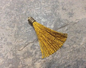 Bronze Gold Silk tassels with Antique Bronze Filigree Caps Beautiful tassels for Jewelry Making Fall Color Tassels