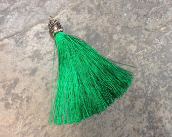 Christmas Green Silk tassels with decorative beaded silver cap Beautiful tassels for Jewelry Making