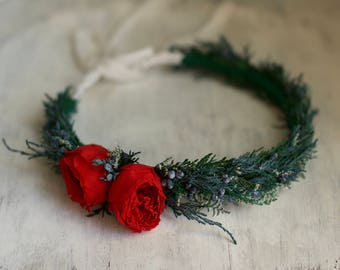 Christmas Flower Crown,  Red Head Wreath, Holiday Headpiece, Ready to Ship