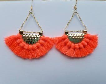 Coral Finge Chandelier Earrings