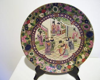 Vintage Andrea by Sadek Oriental Enamel Porcelain Plate w/Geisha Girls