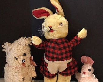 On Sale Vintage 1950's 2 Plush stuffed Rabbit toy Bunny w/ Handmade Crocheted Bear