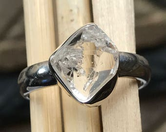 Natural Herkimer Diamond 925 Sterling Silver Solitaire Marquise Ring sz 8.5