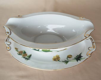 Hira Golden Poppy Gravy Boat with Floral Design and Gold Trim 10 1/4""