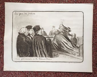 Honore Daumier Etching Pencil Signed
