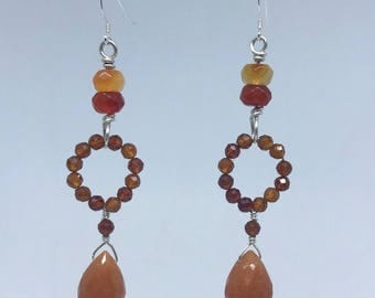 Orange Aventurine and Carnelian Earrings