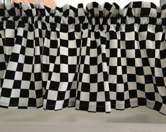 "Black & White Checker  Nascar Racing Valance Curtain Broadcloth 54""W x 13""L"