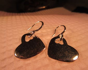 Retro Sterling Silver Dangling Heart Earrings