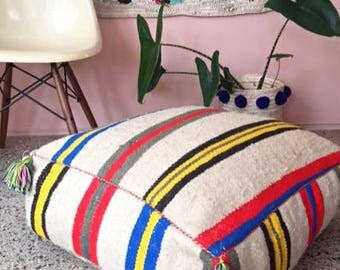 """Handmade and unique kilim Moroccan pouf,poef,osmane,puff,ottoman,foot stool,floorpillow """" Comes with filling"""""""