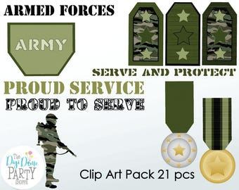 Military Army Soldier Digital Scrapbooking Clip Art, Buy 2 Get 1 FREE. Instant Download