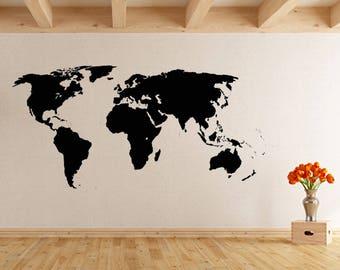 World Map Sticker, Wall Sticker, Wall Decal, Interior Sticker,  Window Sticker, Car Sticker, Window Sticker
