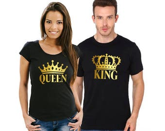 King and Queen shirts V2, Couple shirts, Custom t shirts, Custom made shirts, Tee shirt printing, Matching couple shirts, King queen shirts