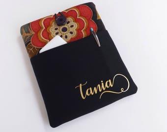 Personalized tablet sleeve, Tablet case, Tablet cover, Tablet Sleeve, iPad Sleeve, iPad Pro sleeve cover case with Front pocket: Dark Floral
