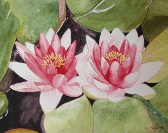 Floral watercolor: two pink lilies