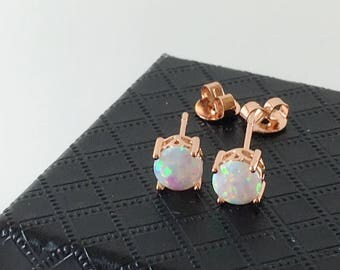 6mm  Rose Gold White Opal Earring Stud.Synthetic Opal. 229