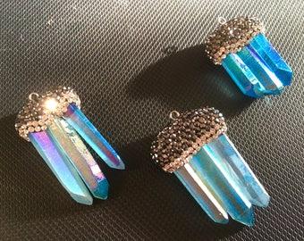 Natural Quartz Blue Pave Crystal Pendant, blue quartz pendant, chunky necklace pendant, rhinestone quartz blue jewelry, quartz necklace