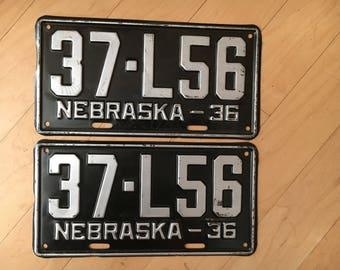 Pair of 1936 NE License Plate set. Nebraska