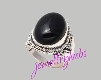 Black Stone Ring, Black Onyx Ring, Black Silver Ring, Sterling Silver Ring, Women Ring, Bohemian Ring, Size - US 4 to 16,  R23BO