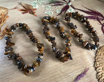 Tiger's Eye Chip Bracelet // Crystal Bracelet // Gift //