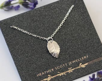 Leaf necklace, leaf jewellery, gifts for her, nature jewellery, leaf jewelry, silver, Uk maker