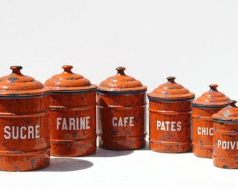 Vintage Six Enamel canisters ,storage jars,French cuisine,home decor
