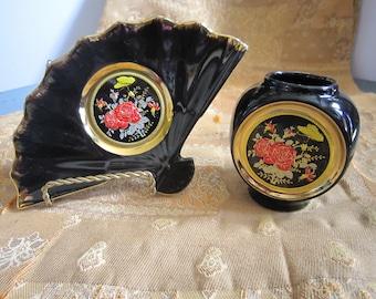 Black and Gold Jar and Tray. The Art of Chokin Jar and Tray,