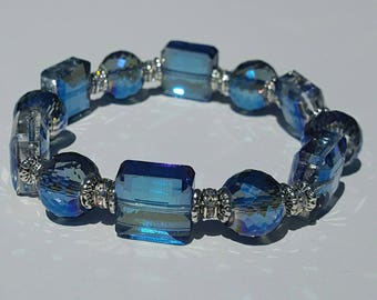 Blue Crystal Bracelet, Free Shipping