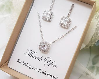 Luxury Square design bridesmaid Cubic Zirconia Earrings and Necklace Set, Bridesmaid Gift