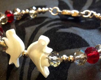 Pearl Doves with Crystals Bracelet