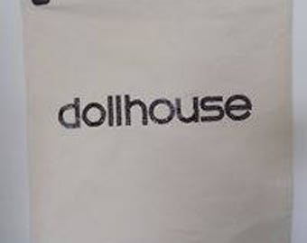 Handmade tote bag, Dollhouse logo