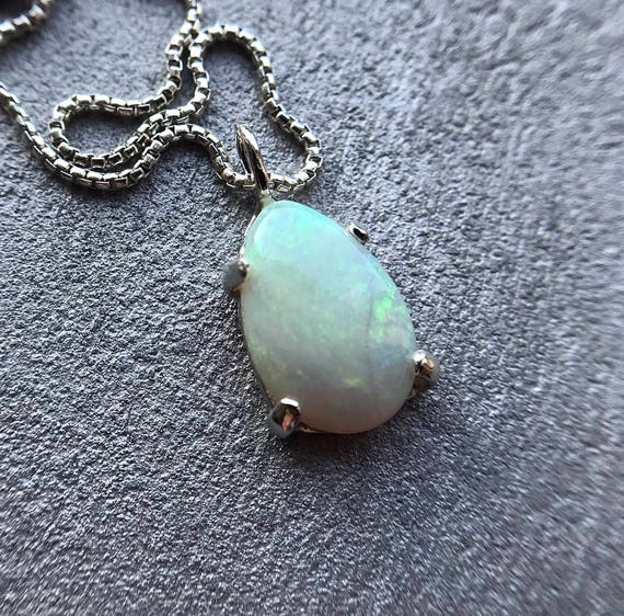 Sterling silver pendant necklace with Australian opal