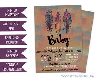 Tribal Baby Shower Invitation - Aztec Baby Shower Invite - Boho Baby Shower Invitations - Arrow Baby Shower Invitation - Tribal Invitation