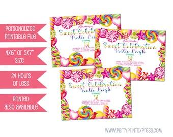 Printable Candy Birthday Invitation - Candy Invitation - Candy Party Invite - DIY Invitations - Candyland Birthday Invitation - Rainbow Pink
