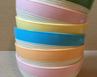 Vintage Raffiaware Thermo Temp Cereal Bowls Set of 6