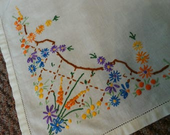 Floral Patterned  Hand Embroidered Vintage Linen, Multi Coloured Embroidered